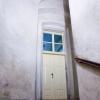 Požární dřevěné dveře / dvoukřídlové kazetové s rámovou zárubní s proskleným nadsvětlíkem, replika, EI 30 DP3